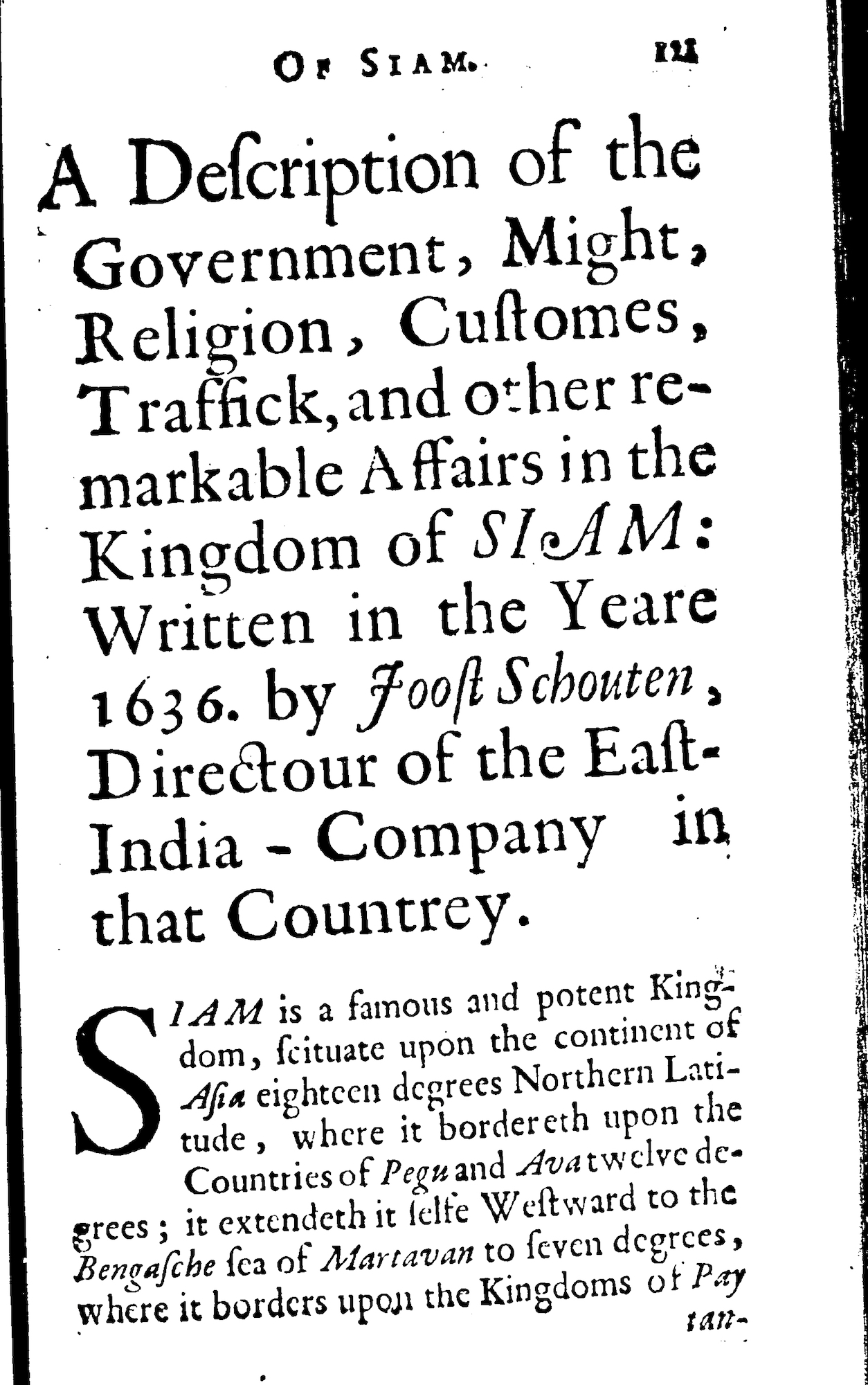 First page of Joost Schouten's description of Siam